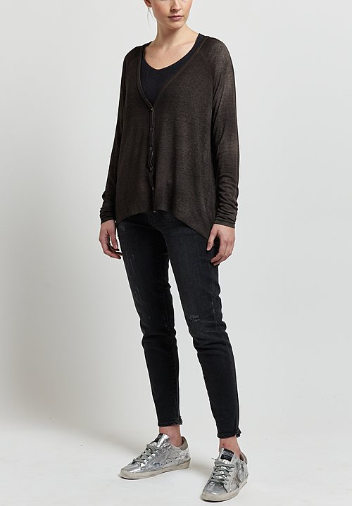 Avant Toi Micromodal/ Silk Ribbed Cardigan in Carruba