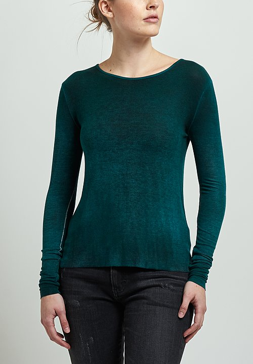 Avant Toi Micromodal/ Silk Ribbed Long Sleeve Tee in Pine