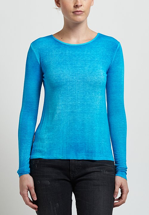 Avant Toi Micromodal/ Silk Ribbed Long Sleeve Tee in Turchese
