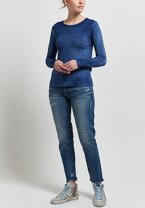 Avant Toi Micromodal/ Silk Ribbed Long Sleeve Tee in Denim