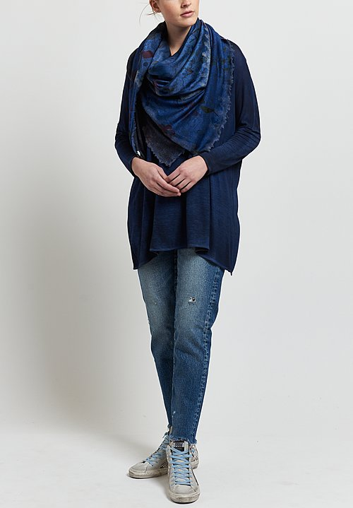 Avant Toi Micromodal Relaxed Round Neck Top in Nero/ Denim