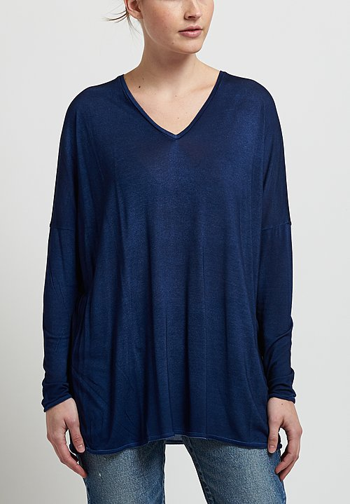 Avant Toi Oversized Micromodal V-Neck Top in Marmo/ Denim