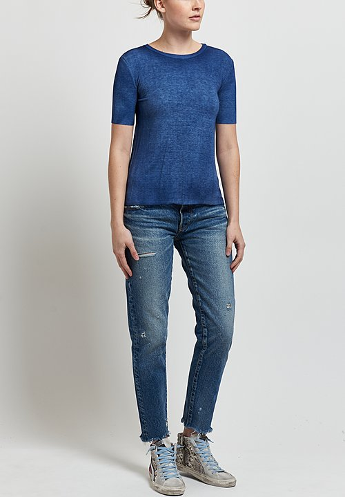 Avant Toi Micromodal/ Silk Ribbed Knit Tee in Denim