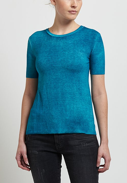 Avant Toi Micromodal/ Silk Ribbed Knit Tee in Sky Blue