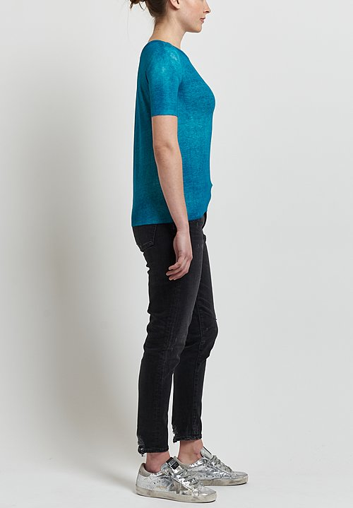 Avant Toi Micromodal/ Silk Ribbed Knit Tee in Provence