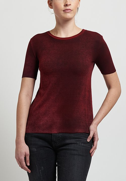 Avant Toi Micromodal/ Silk Ribbed Knit Tee in Nero/ Smalto