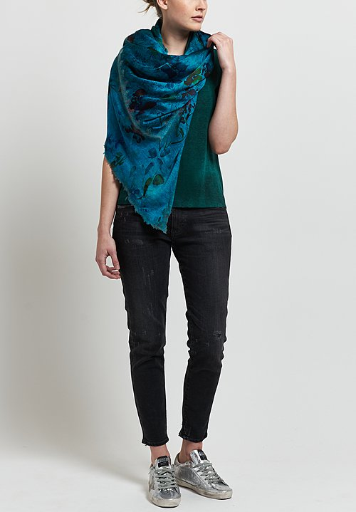 Avant Toi Micromodal/ Silk Ribbed Knit Tee in Pine