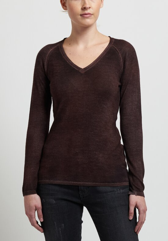 Avant Toi Cashmere/ Silk Raglan Sleeve V-Neck Sweater in Chocolate