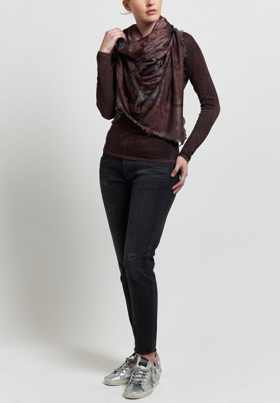 Avant Toi Cashmere/ Silk Raglan Sleeve V-Neck Sweater in Nero/ Terre