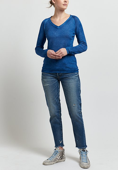 Avant Toi Cashmere/ Silk Raglan Sleeve V-Neck Sweater in Denim