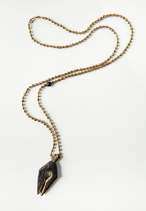 Pamela Adger Brass & Wood Pendant from Bali