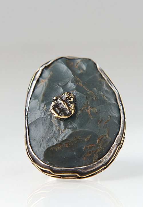 Pamela Adger Sterling, Brass, Slate Flint, Alaska Ring