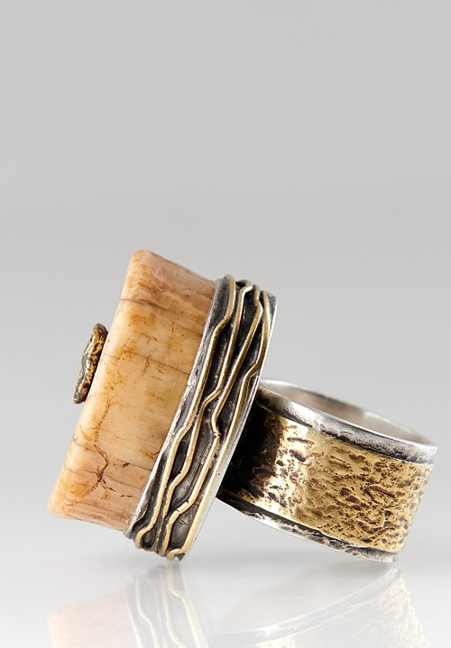 Pamela Adger Sterling, Brass Fossilized Walrus Ivory, Alaska Ring