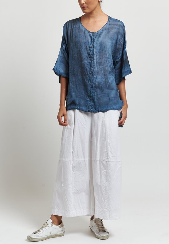 Gilda Midani Sheer Super Shirt in Steel Blue