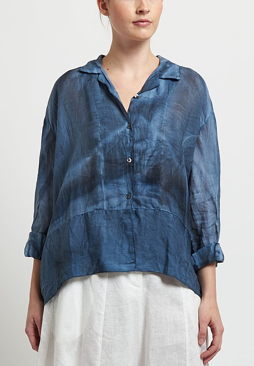 Gilda Midani Linen Cupula Shirt in Steel Blue