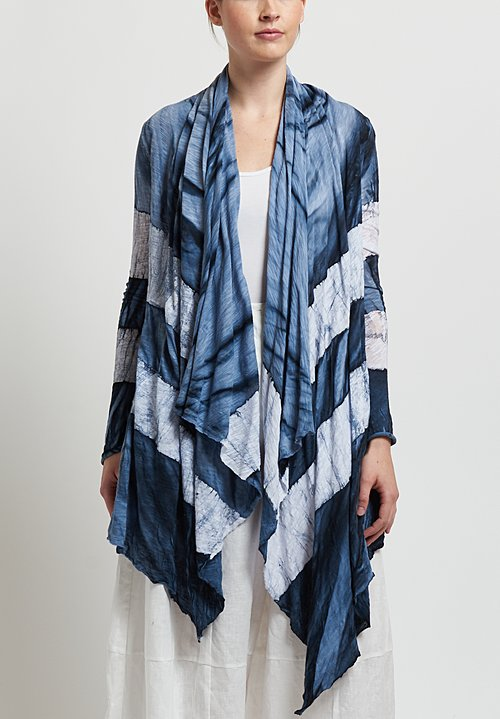 Gilda Midani Short Karan Cardigan in Stripes Steel/ White