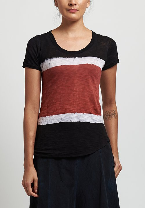 Gilda Midani  Round Tee in Stripes Black/ Urucum