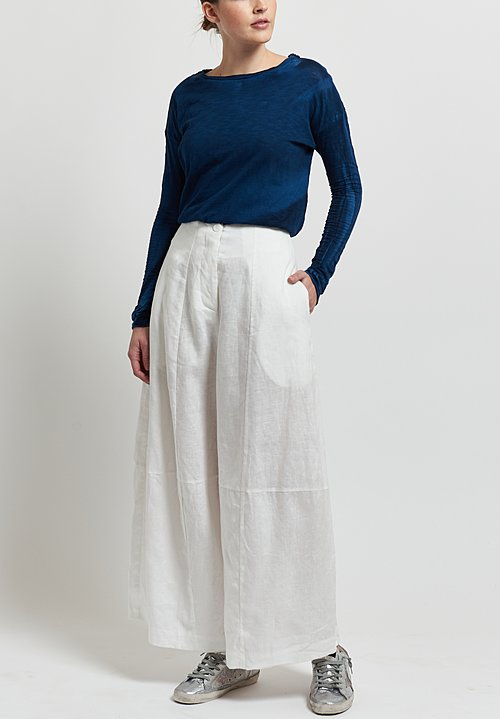 Gilda Midani Solid Dyed Linen Egg Pants in White