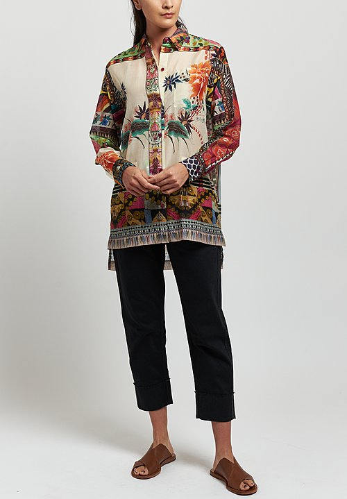 Etro Cotton/ Silk Sheer Floral Mosaic Print Shirt in Multicolor