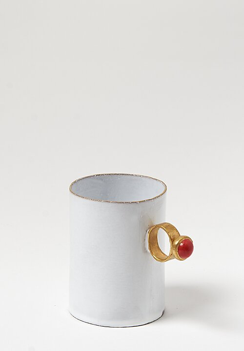 Astier de Villatte Serena Red Ring Mug in White