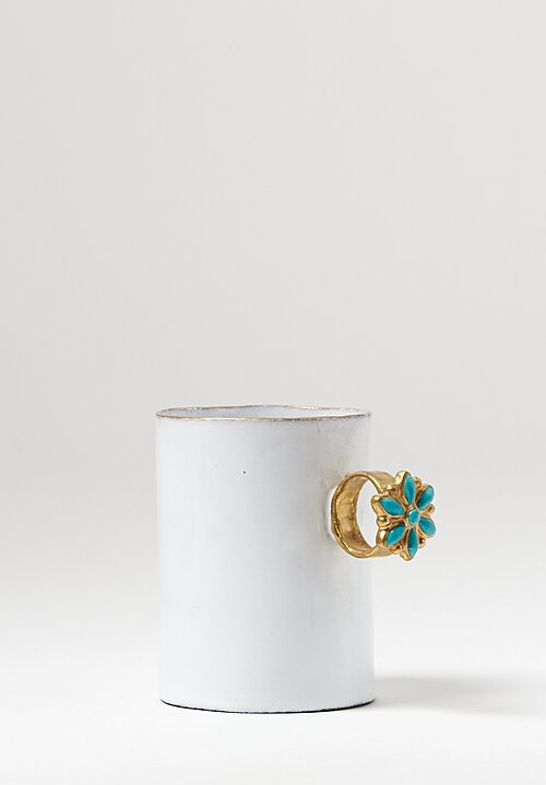 Astier de Villatte Serena Blue Flower Ring Mug in White