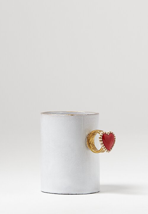 Astier de Villatte Serena Heart Ring Mugin in White