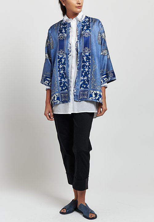 Etro Cotton with Silk Embroidered Paisley Shirt in Blue/ White