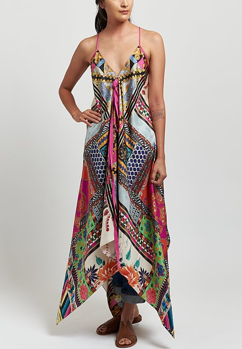 Etro Silk Twill Grosgrain Trimmed Asymmetric Dress in Pink Multi