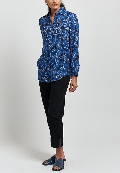 Etro Ramie Relaxed Paisley Cutaway Collar Shirt in Blue