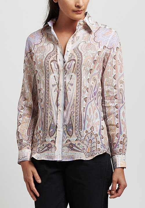 Etro Ramie Paisley Point Collar Shirt in Apricot