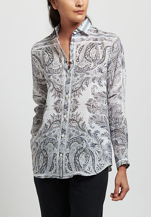 Etro Ramie Relaxed Paisley Cutaway Collar Shirt in White