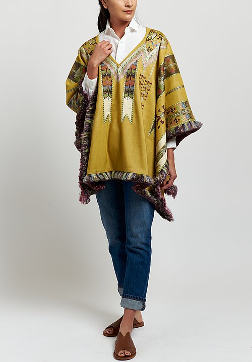 Etro Geometric Fringed Poncho in Chartreuse