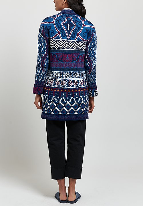 Etro Cotton/ Silk Belted Knit Cardigan in Blue/ Purple