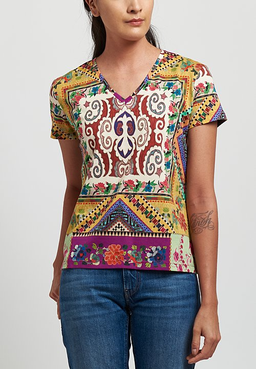 Etro Cotton Printed V-Neck T-Shirt in Yellow