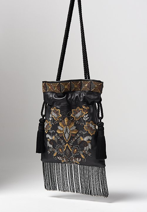 Etro Goatskin Leather & Floral Beaded Cinch Top Bag