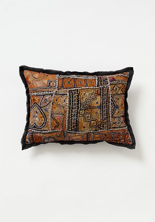 Vintage Banjara Metallic Embroidered Small Pillow in Gold I