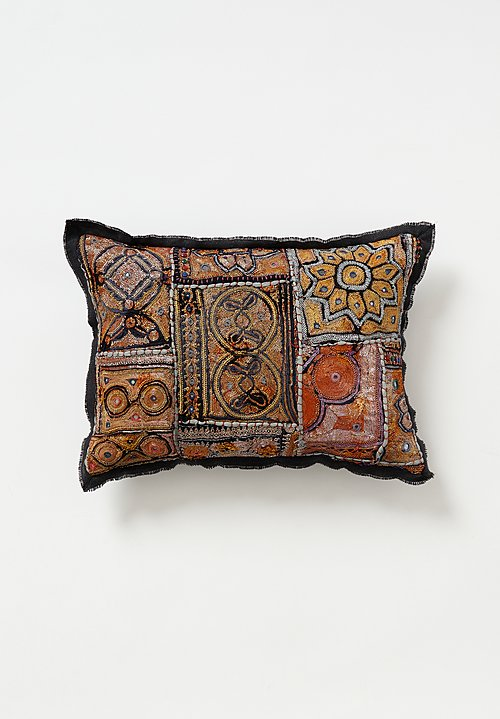 Vintage Banjara Metallic Embroidered Small Pillow in Gold II