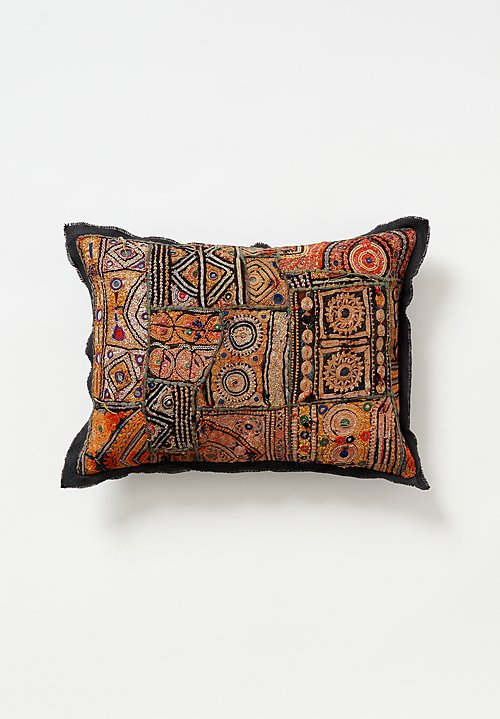 Vintage Banjara Metallic Embroidered Small Pillow in Warm Multi I
