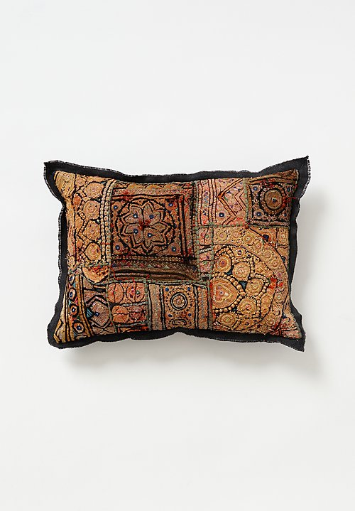 Antique and Vintage Banjara Metallic Embroidered Small Pillow in Tan