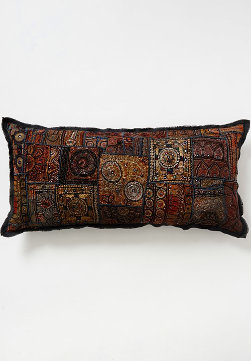 Vintage Banjara Metallic Embroidered XLarge Pillow