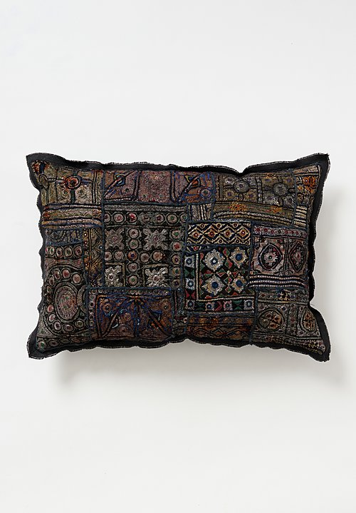 Vintage Banjara Metallic Embroidered Large Pillow in Grey II