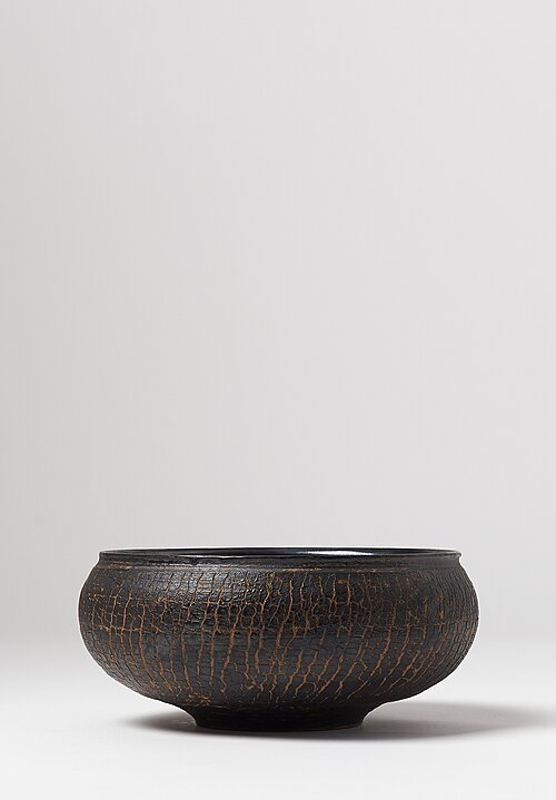 Peter Speliopoulos Ceramic Crackle Small Low Bowl Black