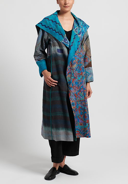 Mieko Mintz 2-Layer Vintage Silk A-Line Long Jacket in Blue/ Teal
