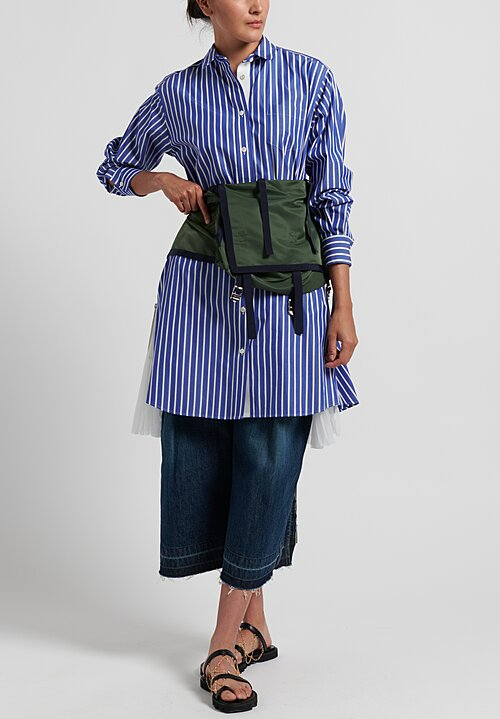 Sacai Cotton Side Pleated Stripe Tunic