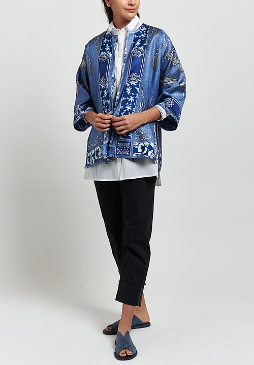 Etro Silk Bandana Print Reversible Jacket in Blue