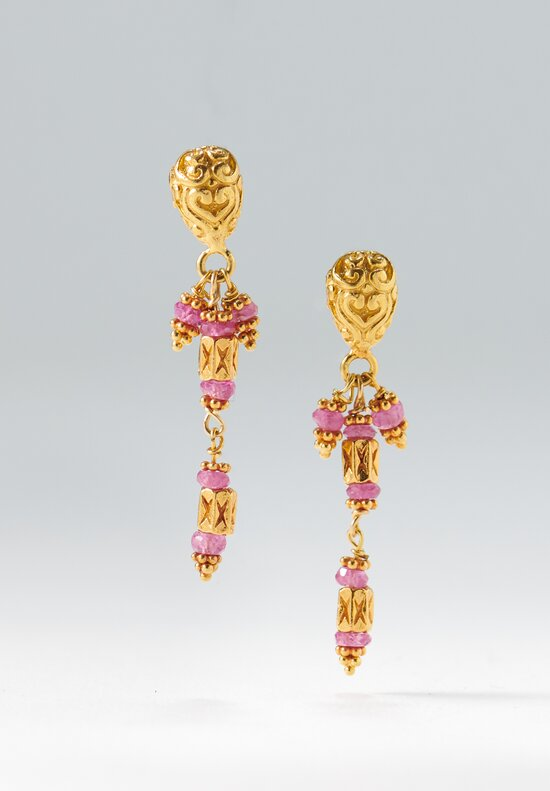 Greig Porter 18K, Spinel Triple Dangle Post Earrings