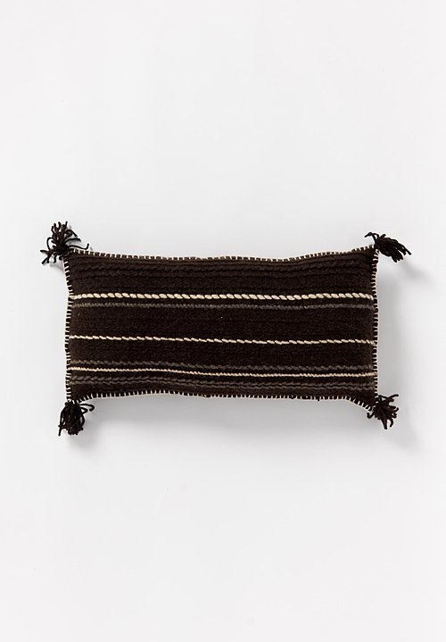 British Wool Striped & Tassel Lumbar Cushion