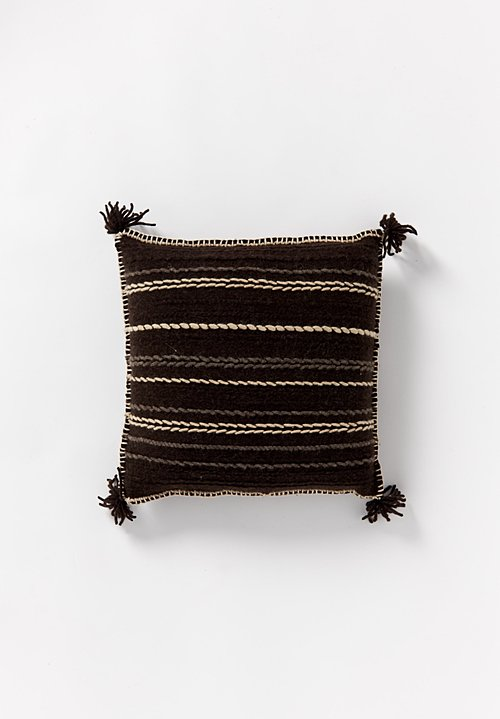 British Wool Striped & Tassel Small Square Cushion in Dark Brown