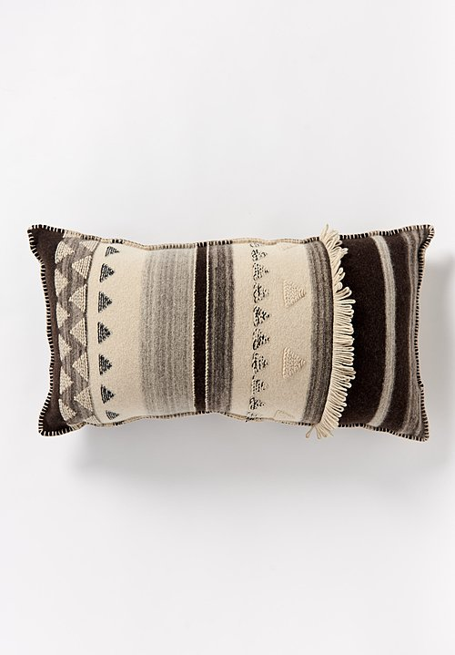 Large British Wool, Fringed Geometric Cushion in Cream