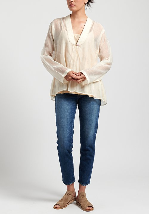 Péro Cotton/ Silk Single Button Top in White